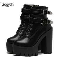 Gdgydh Spring Autumn Fashion Women Boots High Heels Platform Buckle Lace Up Leather Short Booties Black Ladies Shoes Promotion