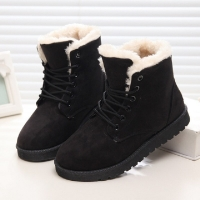 Women Winter Snow Boots Warm Flat Plus Size Platform Lace Up Ladies Women's Shoes 2019 New Flock Fur Suede Ankle Boots Female