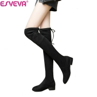 ESVEVA 2020 Over The Knee Boots Square Med Heel Women Boots Sexy Ladies Lace Up Stretch Fabric Fashion Boots shoes Size 34-43