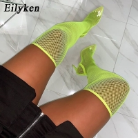 Eilyken 2019 New Summer Autumn Sexy Over The Knee Women Boots Pointed Toe High Heels Sock Boots Sandals Party Shoes Green