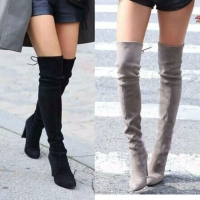 Women boot Faux Suede Women Over The Knee Boots Lace Up Sexy High Heels Shoes Woman Female Slim Thigh High Boots Botas 35-43
