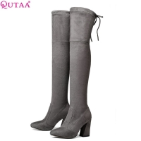 QUTAA 2020 Women Over The Knee High Boots Short Plush Inside Keep Warm Winter Fashion Sexy Hoof Heels Women Boots Size 34-43