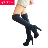 QUTAA 2020 New Women Boots Sexy Fashion Over the Knee Boots Sexy Thin Square Heel Boot Platform Woman Shoes Black size 34-43