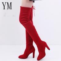 Hot Women Casual Red Over the Knee boots shoes Winter Female Round Toe Platform high heels Pumps Warm Snow Boots Zip Mujer 43