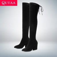 QUTAA 2020 Women Shoes Over The Knee High Boots Pointed Toe Autumn Winter Shoes Women Hoof Heels Flock Women Boots Size 34-43