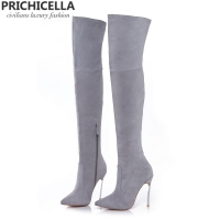 PRICHICELLA 8cm 10cm grey genuine leather over the knee boots thigh high booties size34-42