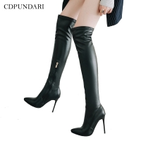 CDPUNDARI Ladies Sexy High heel Over the knee boots women thigh high boots Winter shoes woman botas altas mujer sobre rodilla