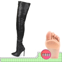 jialuowei Thigh High Boots Stiletto Heels Sexy Full Zipper Over-the-knee Long Boots Lacquered Patent Black Plus Size 36-46