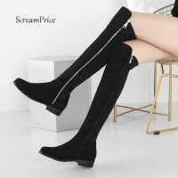 Female Knee High Boots Women Flock Leather Comfortable Winter Boots Women Long Boots Black Wine Red Gray Knee Boots 2019 Shoes