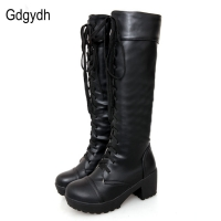 Gdgydh Large Size 43 Lace Up Knee High Boots Women Autumn Soft Leather Fashion White Square Heel Woman Shoes Winter Hot Sale