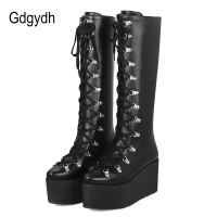 Gdgydh Ladies Knee High Boots Wedge Heel Platform Boots Woman Punk Gothic Shoes Pointed Toe Lace Up Comfortable Large Size 43
