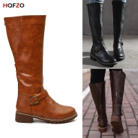 HQFZO PU Leather Women Long Boots Riding Casual Belt Buckle Zipper Autumn Winter Thigh High Loose Boots Botas Mujer Footwear