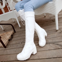 White boots cos shoes lacing martin boots female platform thick heel  plus size boots high-leg boots female