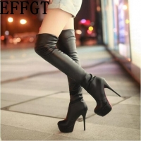 EFFGT 2017 New Women boots PU Sexy Fashion Over the Knee long Boots Sexy Thin High Heel Boots Platform Women Shoes