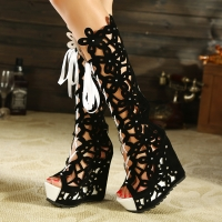 Summer Wedges Chunky Heel Lace-up Peep Toe Women Knee High Boots Lady Cut Out Open The Toe Back Zipper Long Boots SXQ0605
