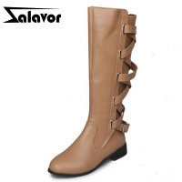 ZALAVOR Women Flats Boots Zipper Fashion Winter Warm knee High Boots Woman Shoes Cross Strap long Botas Footwear Size 35-43