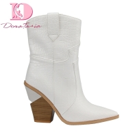 Doratasia brand spring winter Ins hot big size 46 high heels women Shoes Retro short boots slip on woman shoes western boots