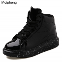 Moipheng Snow Boots Women 2020 Autumn Early Winter Thick Bottom High Upper Board Shoes Fashion Mirror Ankle Boots Lovers Shoes