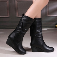 Winter Boots 2020 Women Boots Wedge Mid Calf Boots Women Shoes Black Fashion Mother Shoes Leather Boots Round Toe Ladies Shoes