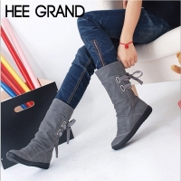 HEE GRAND Winter Boots New Women Fashion Boots Autumn Shoes with Lace-up Mid-Calf Solid Flat Heels PU Boots Mujer Shoes XWX7001