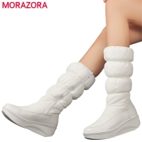 MORAZORA Plus size 35-44 new fashion winter snow boots platform shoes footwear mid calf women boots solid color zipper white