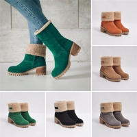Women's Ladies Winter Shoes Flock Warm cotton Boots Martin Snow Boots Short Bootie Women's solid suede plus velvet warm Boots