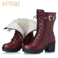 High-heeled genuine leather women winter boots thick wool warm women Martin boots high-quality female snow boots K25