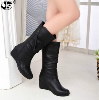 2019 new Internal increase Short boots women Autumn New winter Round head boots woman plus size  zapatos de mujer 563