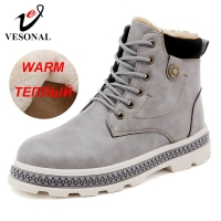 VESONAL Brand Men Ankle Boots Shoes Casual For Male Adult Winter New Snow Boots Warm With Fur Short Plush Sneakers Men Footwear