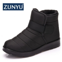 ZUNYU New Fashion Men Boots High Quality Waterproof Ankle Snow Boots Shoes Warm Fur Plush Hook & Loop Winter Shoes Free Shipping