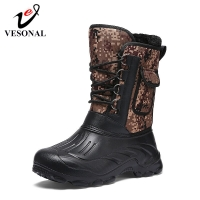 VESONAL Brand Casual Men Snow Boots Male Adult Winter New Outdoor Waterproof Light Winter Warm Short Plush Sneakers Men Footwear