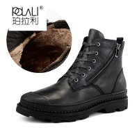 POLALI Natural Cow Leather Men Winter Boots 2018 Handmade Retro Men Shoes #CX9550JM
