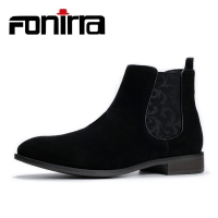 FONIRRA 2019 Fashion  Boots Men Casual Boots Ankle shooes British Style Slip On Motorcycle Suede High Top Classic 416