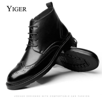 YIGER NEW Men Boots Genuine Leather Boots Large Size Men Casual Boots Lace-Up Bullock Boots Men Black Spring/Autumn Ankle boots