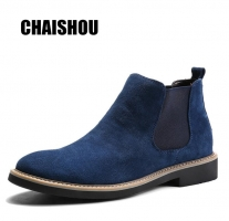 C213 2019 shoes man Spring New Fashion Casual Men Ankle Chelsea Boots Male Shoes Cow Suede Leather Slip Ons Motorcycle Man Boot