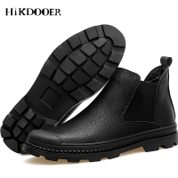 New Men Genuine Leather Chelsea Boots Slip On Round Toe Shoes Fashion Footwear High Quality Male ankle boots moccasins