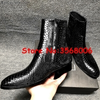 Snake Skin Leather Pointy Toe Zipper High Top Men Chelsea Boots Shoes Rome Style Casual Spring Autumn Man Ankle Boots Shoes