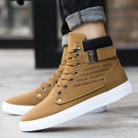 Koovan Men's Sneakers 2018 Autumn And Winter Matte Leather High Top Men's Shoes Large Size Size 47 Retro Casual Men's Boots Male
