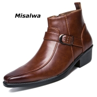 Misalwa Men's Dress Ankle Zip Leather Boots 2019 Autumn British Retro Men Motorcycle Boots Casual Shoes Black Buckle Zapatillas