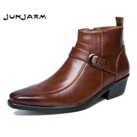 JUNJARM British Retro Men Boots Microfiber Black Men Motorcycle Boots Casual Shoes Male Fashion Buckle Quality Zapatillas