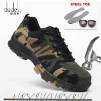 Big Size 36-48 Unisex Safety Shoes Men Work Boots Camouflage Steel Toe Boots Men Outdoor Work Shoes Air Mesh Safety Boots
