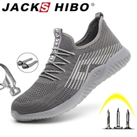 JACKSHIBO Breathable Safety Work Shoes For Men Male Steel Toe Cap Boots Construction Shoes Safety Boots Work Anti-Smashing
