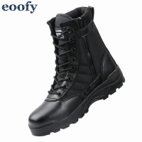 New Us Military Leather Combat Boots for Men Infantry Tactical Training Ankle Shoes Motorcycle Boots Vintage Combat Footwear