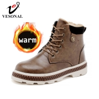 VESONAL Autumn Winter New Leather Ankle Snow Men Boots Shoes Motorcycle With Fur Plush Warm Vintage Classic Male Casual booties