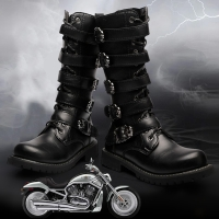 Knee High men boots 38-45 leather Equestrian men motocycle boots #555
