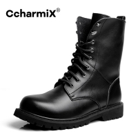 CcharmiX Men's Moto Boots Outdoor Mid-calf Army Boots Men's Leather Military Desert Tactical Boot Shoe Black Combat Boots Winter