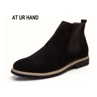 New Chelsea Boots Men Suede Hombre Martin Boots Low Heel Nubuck Leather Ankle Boots Vintage Sewing Thread Britain Botas