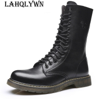 Men Mid-Calf Army boots Lace-Up Genuine leather Motorcycle boots Non-slip Wear-resistant Outdoor work boots M076