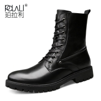 POLALI Plus Size Spring Autumn Men Long Boots Vintage Black Lace Up Male Motorcycle Boots Punk Round Toe Cowboy Western Boots