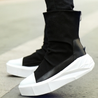 szsgcn414 Men 6 cm Height Increasing Platform Boots Back Zip Leather Shoes Male Mixed Colors Y3 High Top Black White Men's Boots